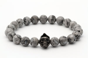 8mm Grey Scenery Jasper Beads Skull Charm Bracelet