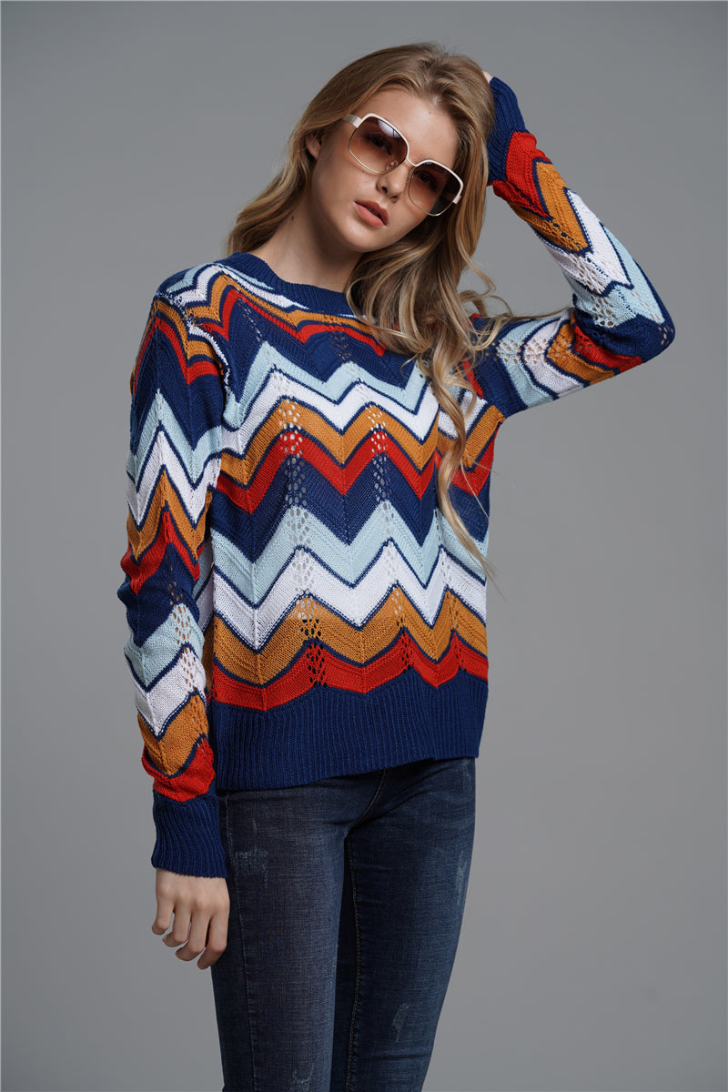 CORIRESHA Color Block Striped Knit Sweater