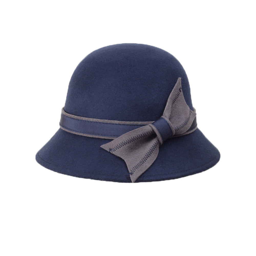 CORIRESHA Vintage Wool Felt Cloche Bucket Bowler Hat