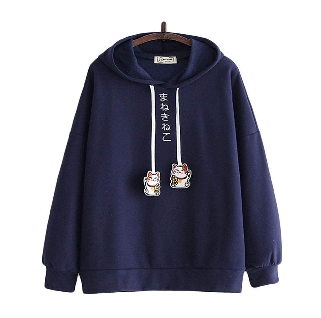 CORIRESHA Lucky Cat Drawstring Hoodie