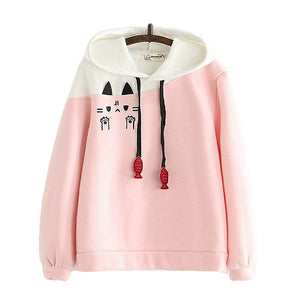 CORIRESHA Cute Color Block Cat Hoodie