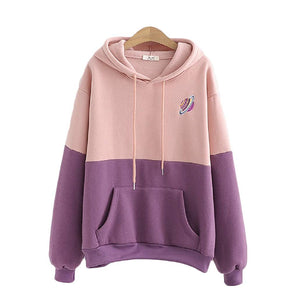 CORIRESHA Color Block Embroidered Saturn Hoodie