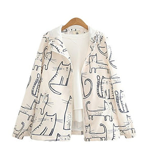 CORIRESHA Cartoon Cat Print Coat