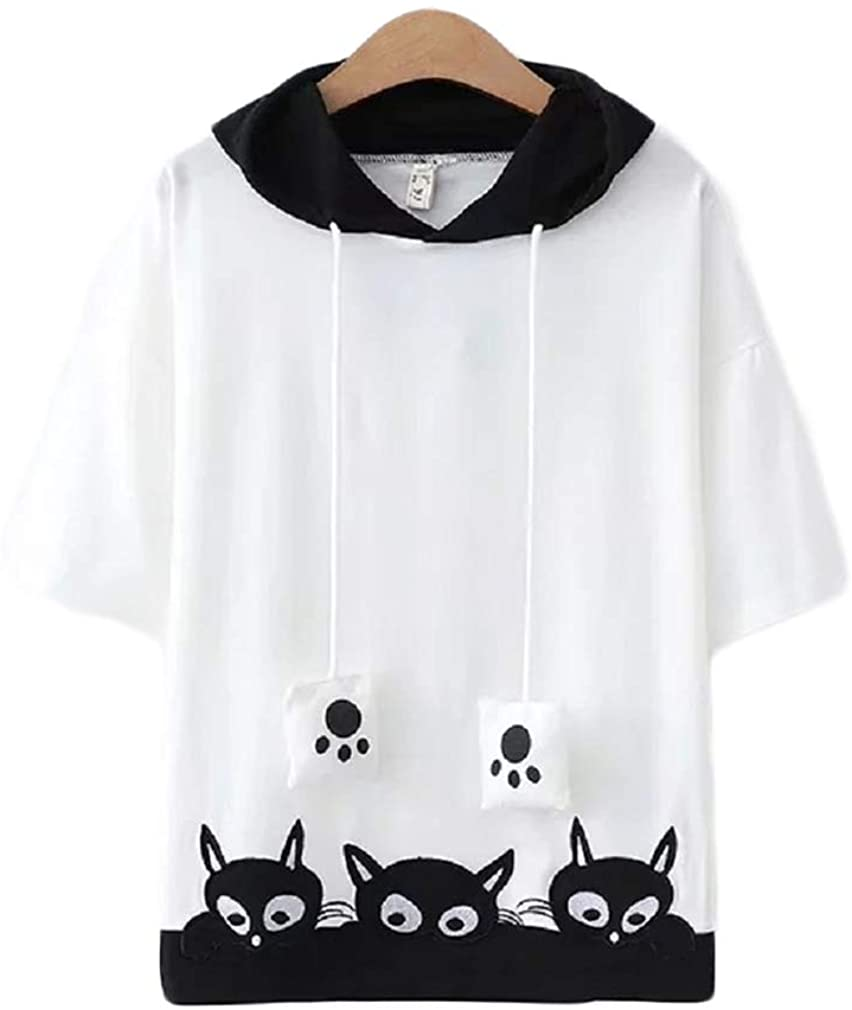 CORIRESHA Cartoon Embroidery Cats Paw Hooded T-Shirt