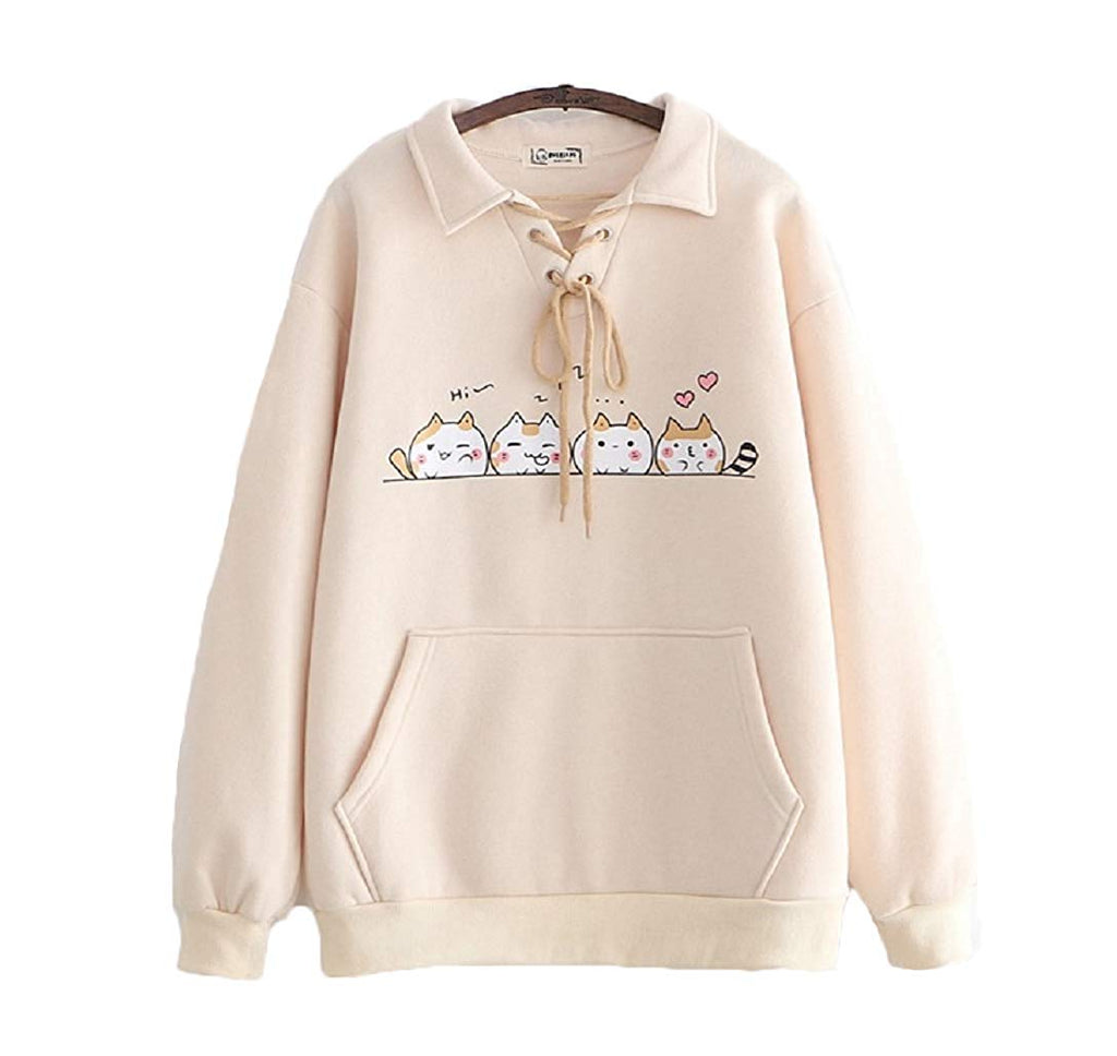 CORIRESHA Cute Cats Print Collar Sweatshrit