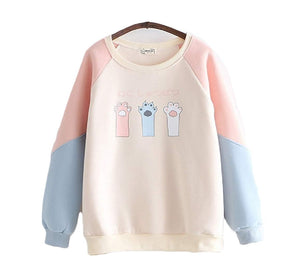 CORIRESHA Color Block Cat Paws Sweatshirt