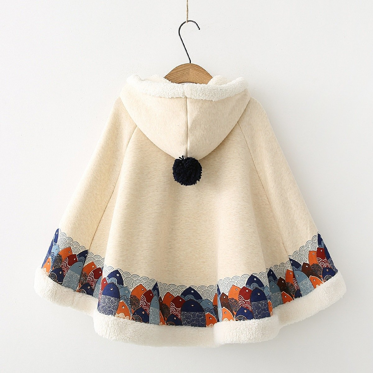 Fish Wool Ball Cloak Coat White