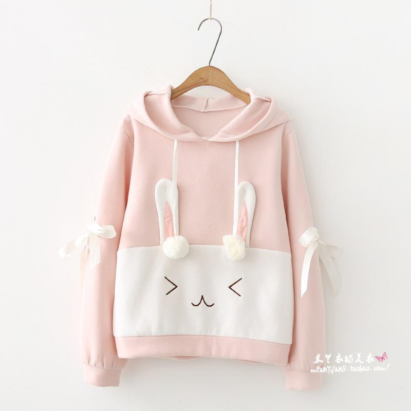 Rabbit Ears Long Sleeve Hoodie Pink