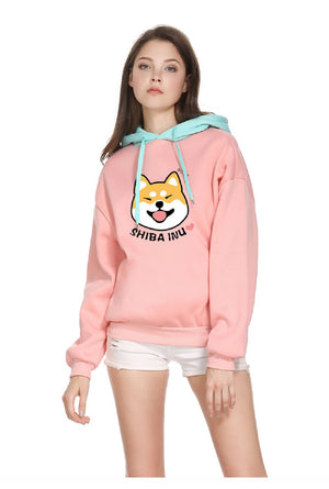 CORIRESHA Pink Color Block Dog Print Hoodie