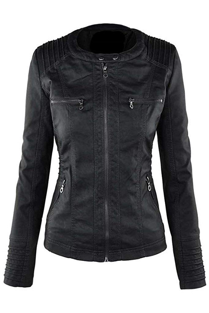 CORIRESHA Faux Leather Jacket