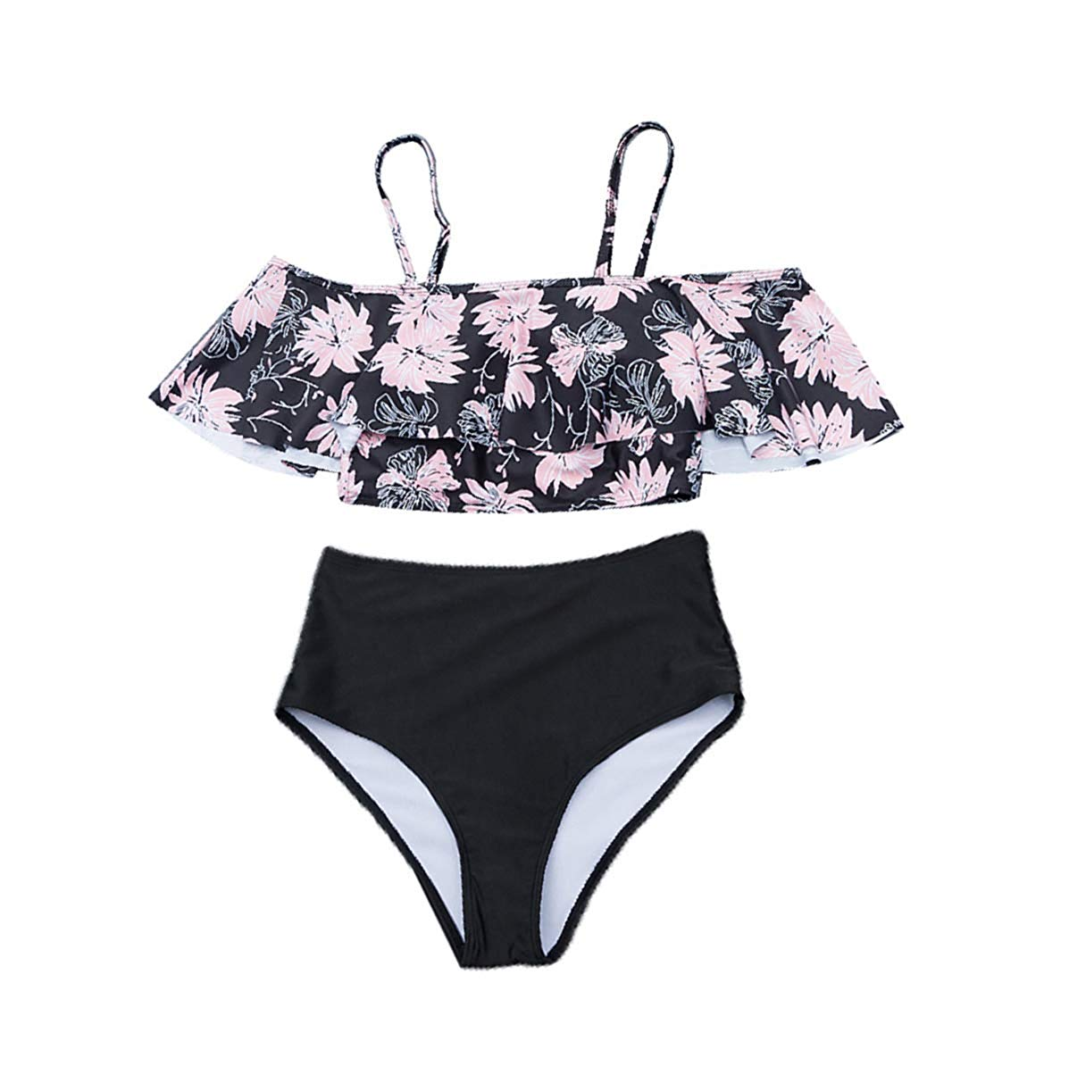 CORIRESHA Ruffled Top High Waist Swimwear