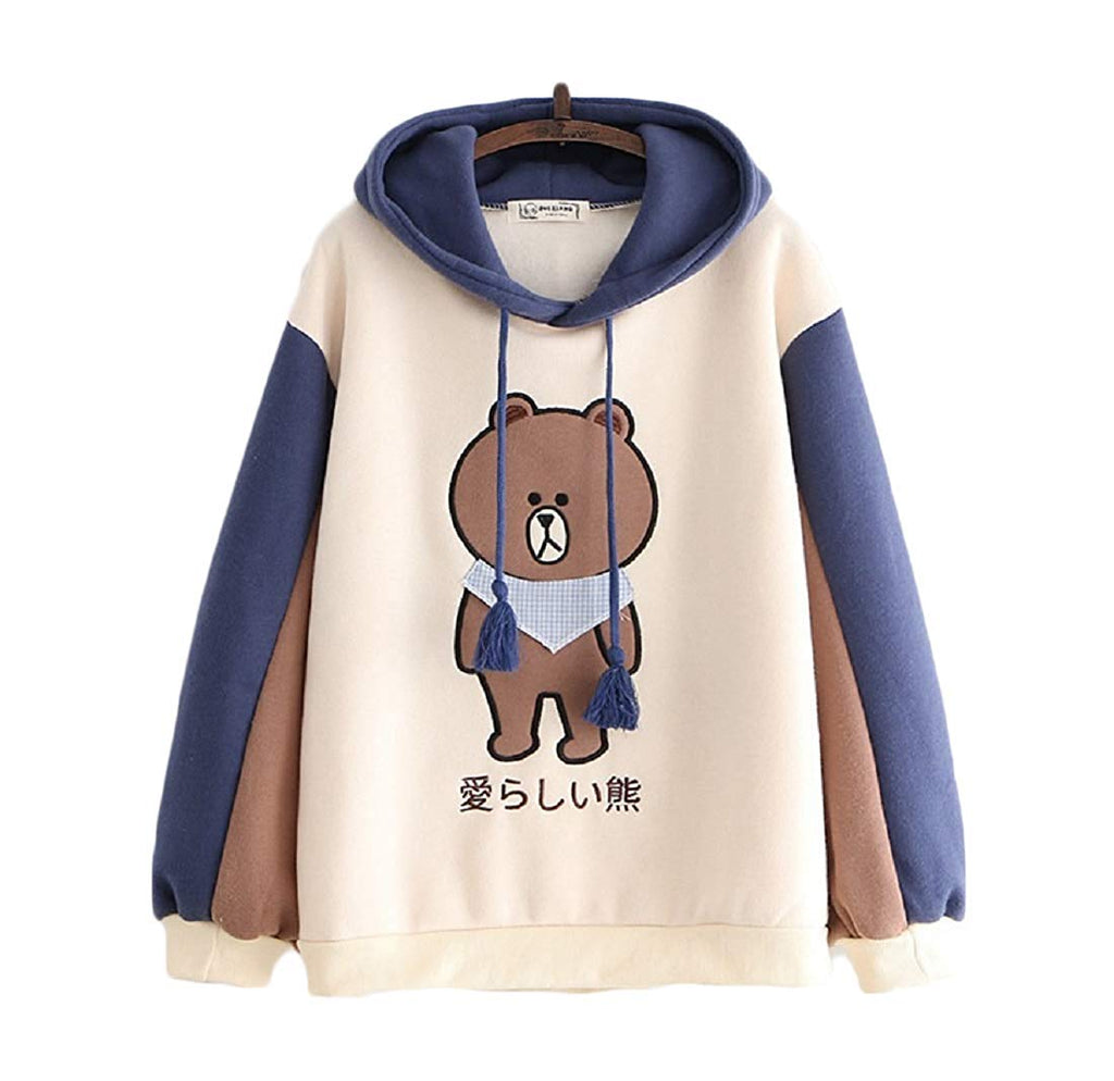 CORIRESHA Cute Bear Color Block Hoodie