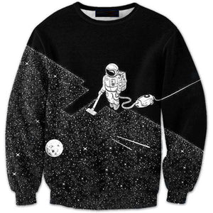 Black 3D Outer Space Astronaut Print Long Sleeve Pullover Sweatshirt