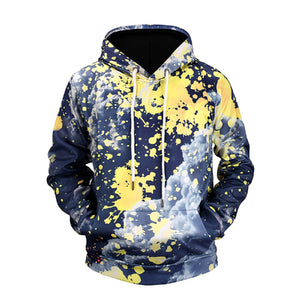 Street Style Hoodie Color Block Yellow