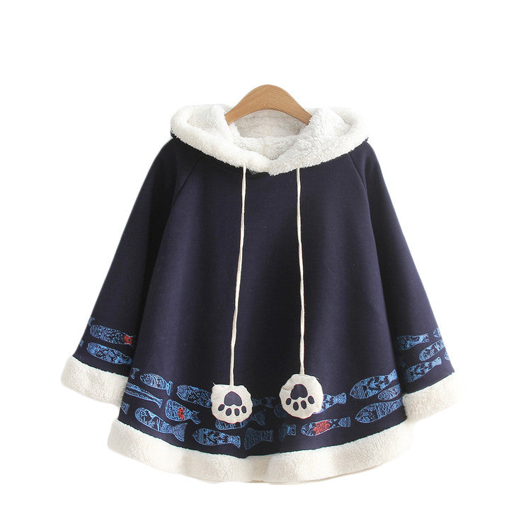 Fish Wool Ball Cloak Coat Navy Blue