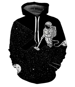 Fashion Astronaut in Outer Space 3D Print Black Hoodie Sweatshirt