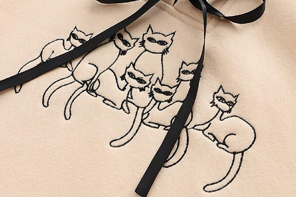CORIRESHA Embroidered Cats Hoodie