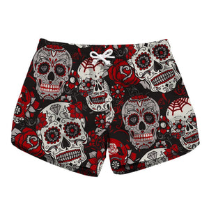 CORIRESHA Quick Dry Skull&Flower Beach Shorts