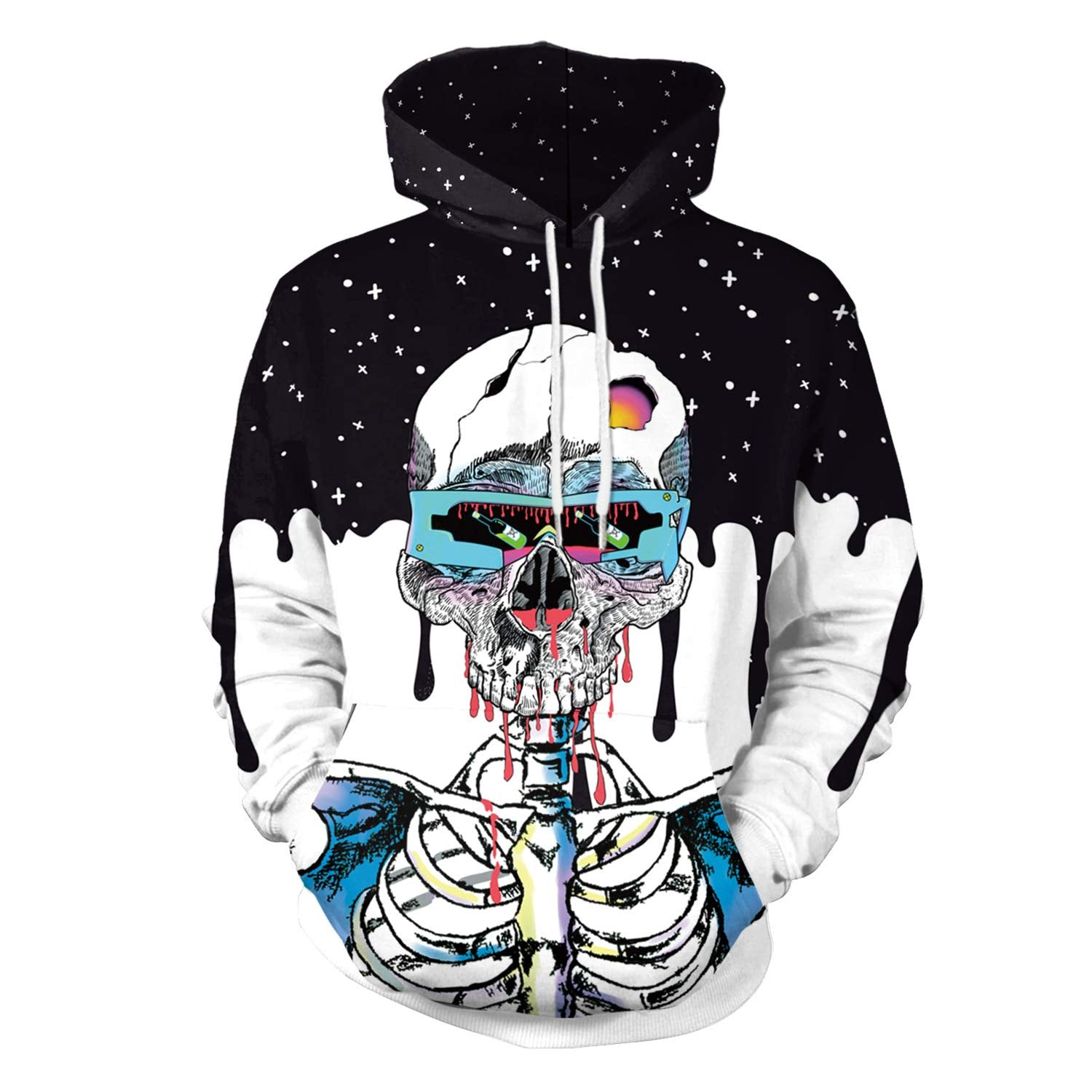 CORIRESHA Starring Sky Skeleton Halloween Hoodie
