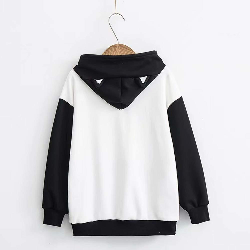 CORIRESHA Cat Pattern Color Block Hoodie