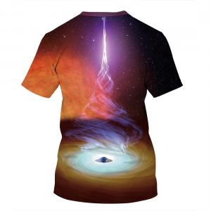 CORIRESHA Space Black Hole Print T-Shirt