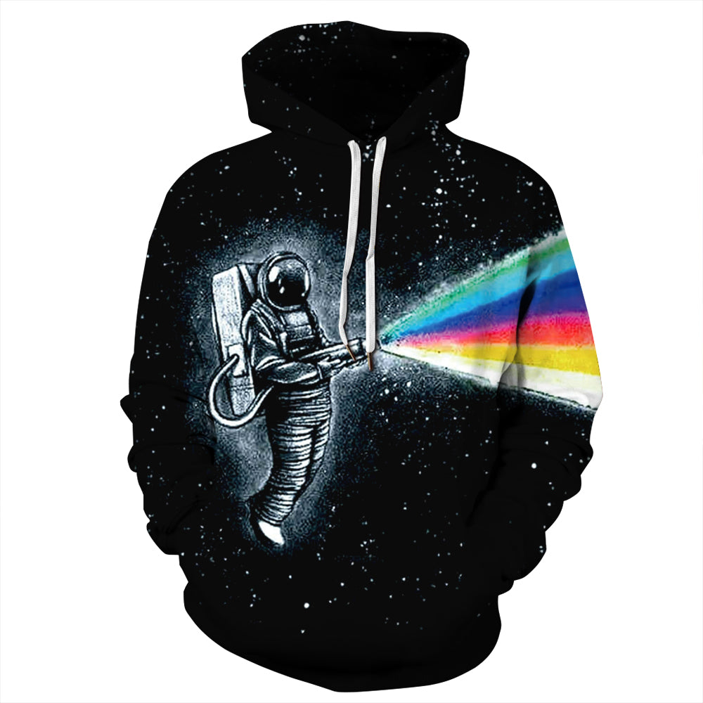 CORIRESHA Astronaut Spraying Rainbow Hoodie