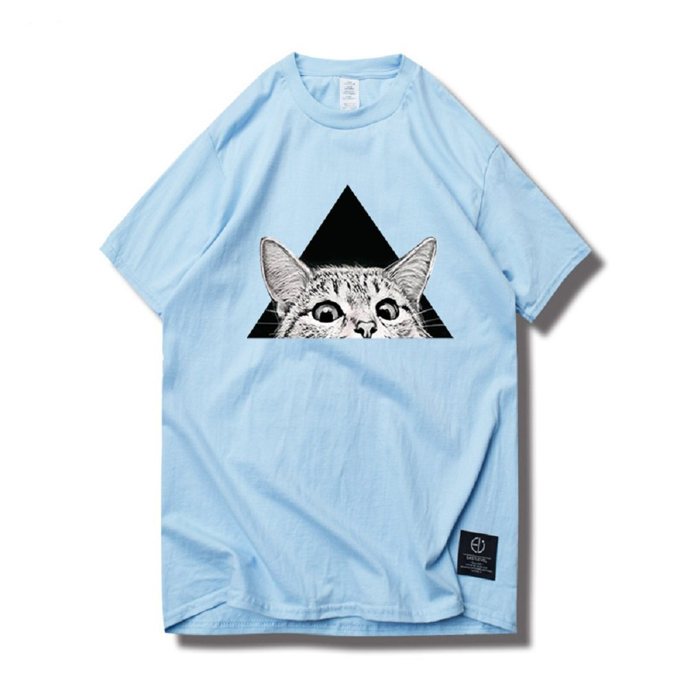 Cute Cat Graphic Tops Round Neck Short Sleeve Summer Tee