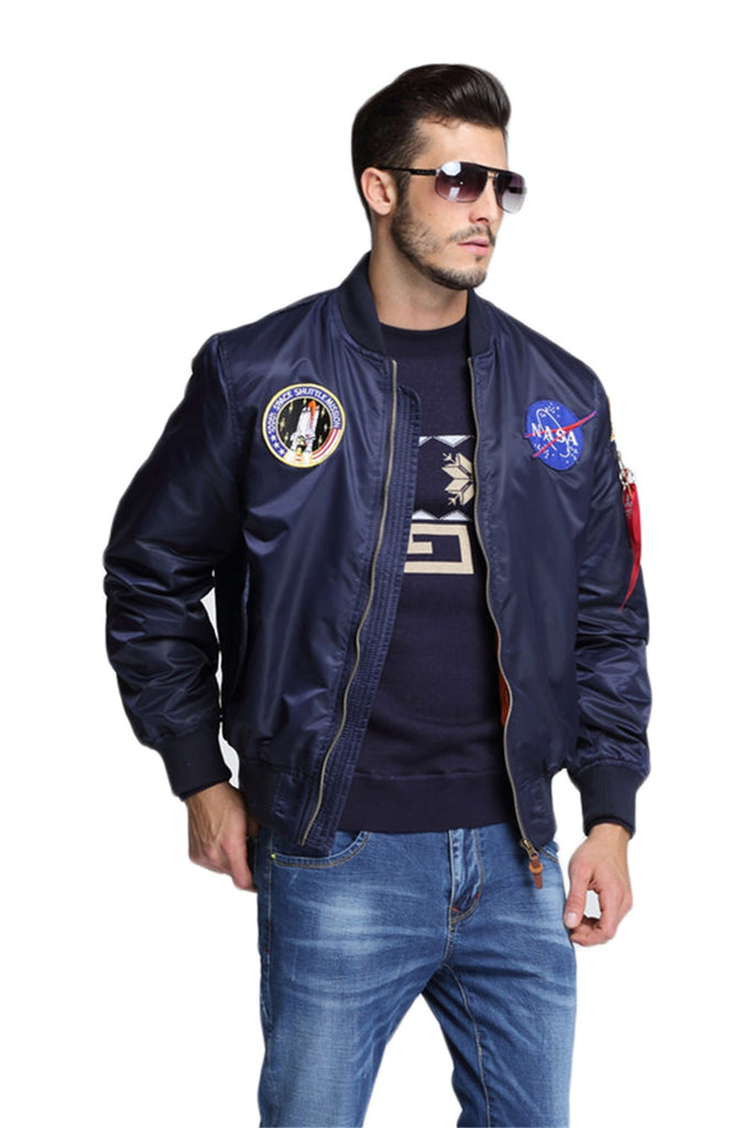 CORIRESHA NASA Embroidery Badge Bomber Jacket