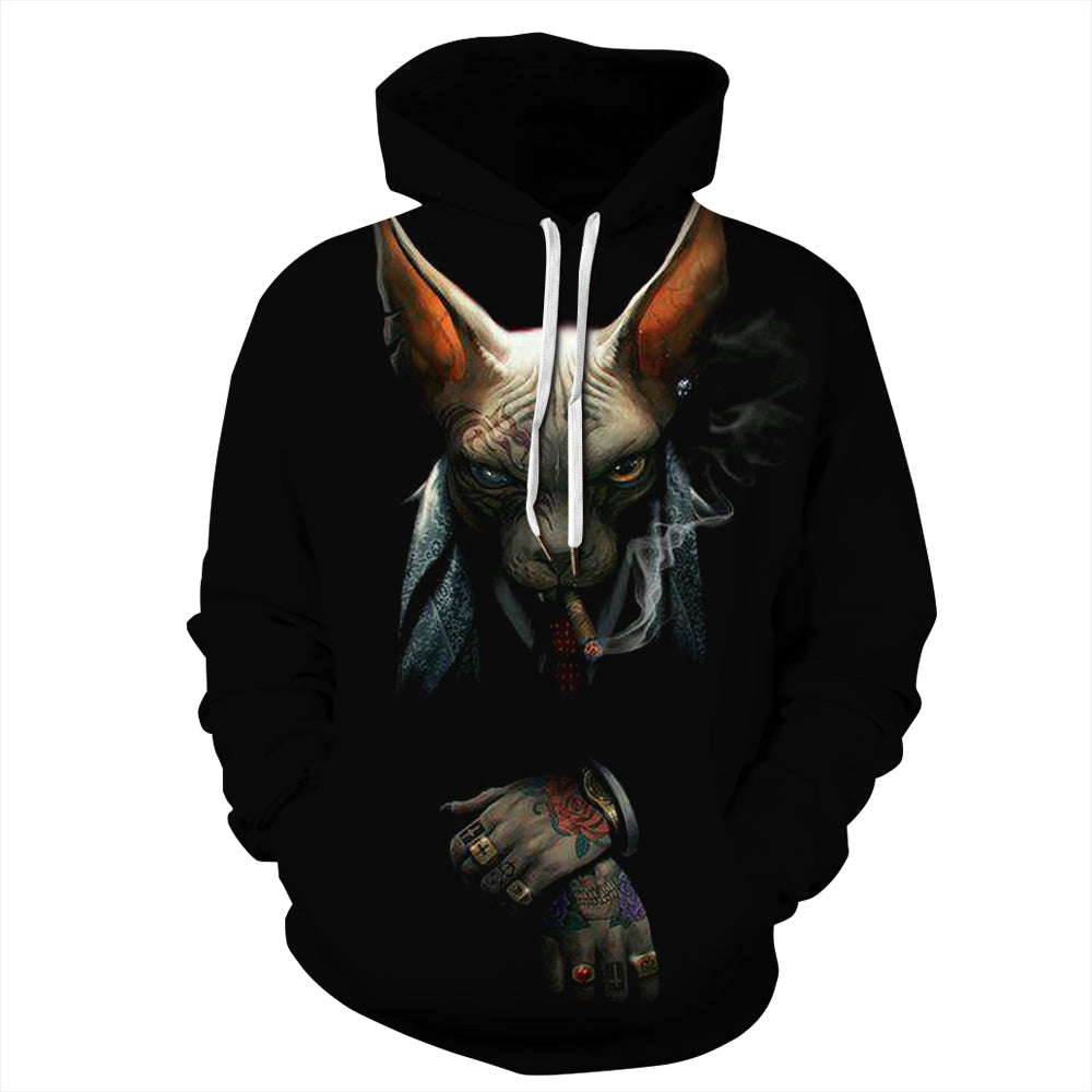 CORIRESHA Smoking Canadian Hairless Cat Hoodie