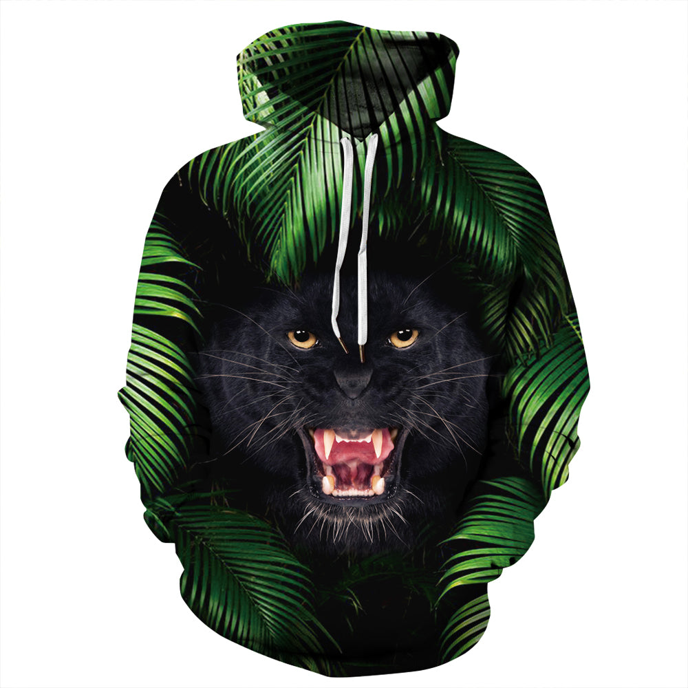 CORIRESHA Jungle and Growling Cat Hoodie