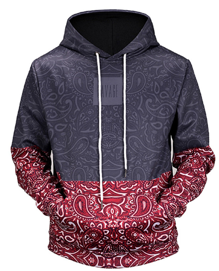 Color Block Paisley Print Hoodie Red