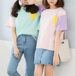 CORIRESHA Girls Fresh Style Color Block T-Shirt