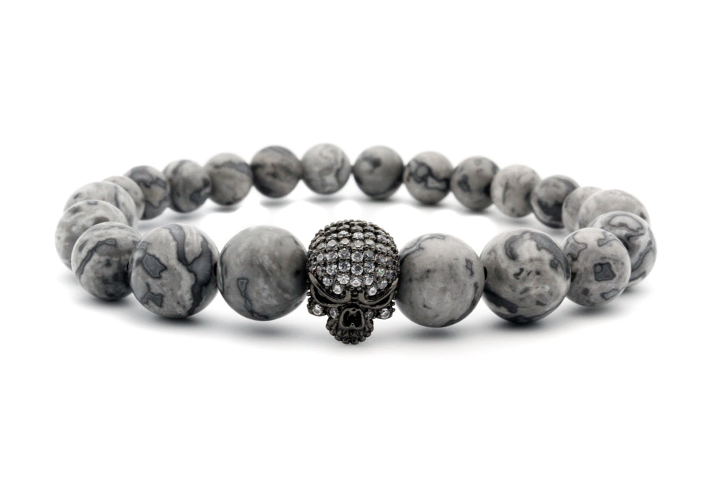 6-8mm Gradual Changing Sizes Natural Stone Skull Beaded Bracelet