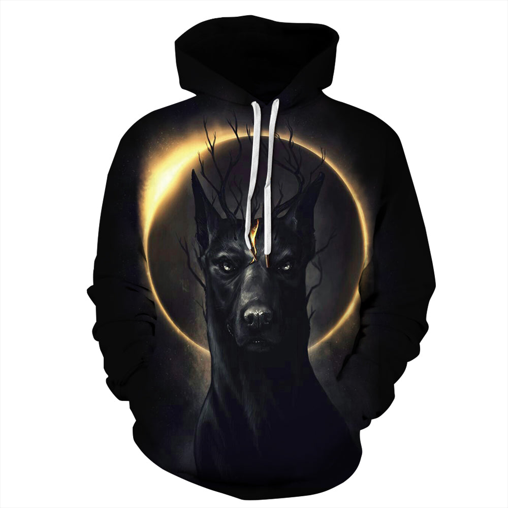 CORIRESHA Solar Eclipse and Doberman Hoodie