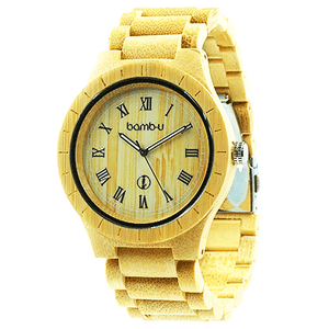 Ambassador by bamb-u, Unisex bamboo wooden watch, light natural bamboo, roman numerals, large face