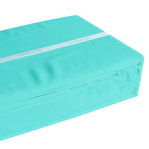 Aqua coloured organic bamboo bed sheet folded and packaged