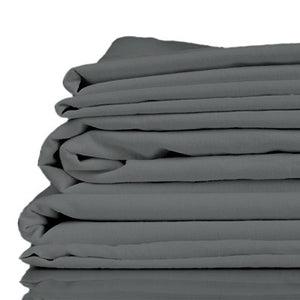 Stack of charcoal coloured organic bamboo bed sheets folded up