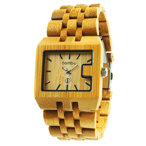 Husky by bamb-u, Men's bamboo wooden watch, carbonised bamboo, square face