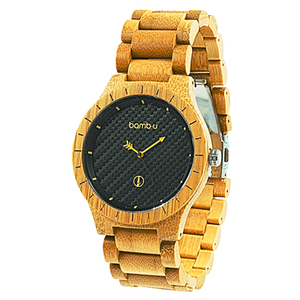 Lanta by bamb-u, Men's bamboo wooden watch, round face, blackface, golden highlights, carbonised bamboo
