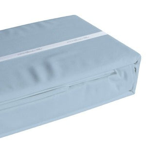 Light blue coloured organic bamboo bed sheet folded and packaged