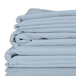 Stack of light blue coloured organic bamboo bed sheets folded up