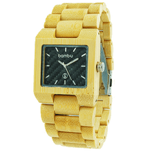 Midnight by bamb-u, Bamboo Wooden Watch, natural bamboo, square face, black face
