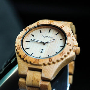 Navigator by bamb-u, unisex bamboo wooden watch, round face, carbonised bamboo