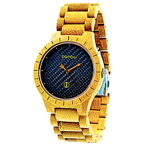 Lanta Neon by bamb-u, Men's bamboo wooden watch, carbonised bamboo, neon orange hands, yellow highlights, black face