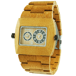 Nomad by bamb-u, Bamboo Wooden Watch, dual time zone, rectangle face, carbonised bamboo