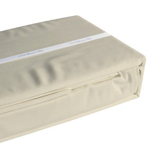 Oatmeal coloured organic bamboo bed sheet folded and packaged