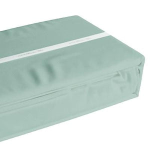Sage coloured organic bamboo bed sheet folded and packaged