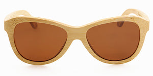 Sienna Blonde by bamb-u, Bamboo Wooden Floating Sunglasses, carbonised bamboo frame, ideal for women, brown lens, UV-400 lens, stainless steel hinges