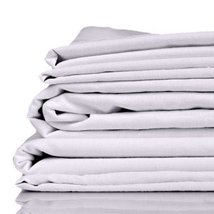 Stack of silver coloured organic bamboo bed sheets folded up