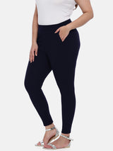 The Pink Moon Plus Size Navy Embossed Stretch Pants | Navy Pants for Formal Wear| Size 42 to 50